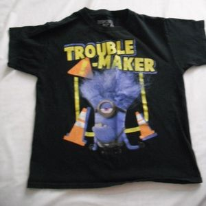 Boys Minion Trouble Maker T-Shirt Size 10/12
